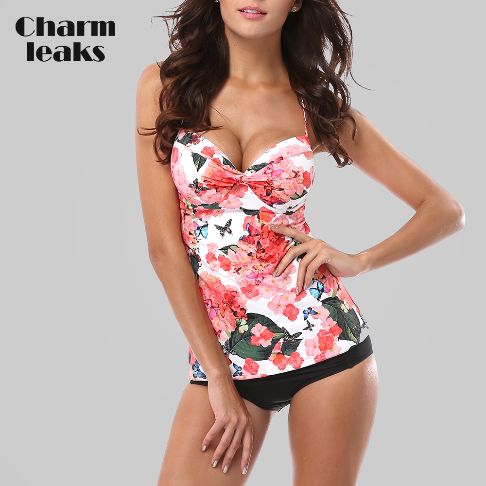 Charmleaks Tankini Set Women Swimsuits Retro Floral Print Swimwear Padded Push Up Bikini Bathing Suit Beach Wear halter print tankini set