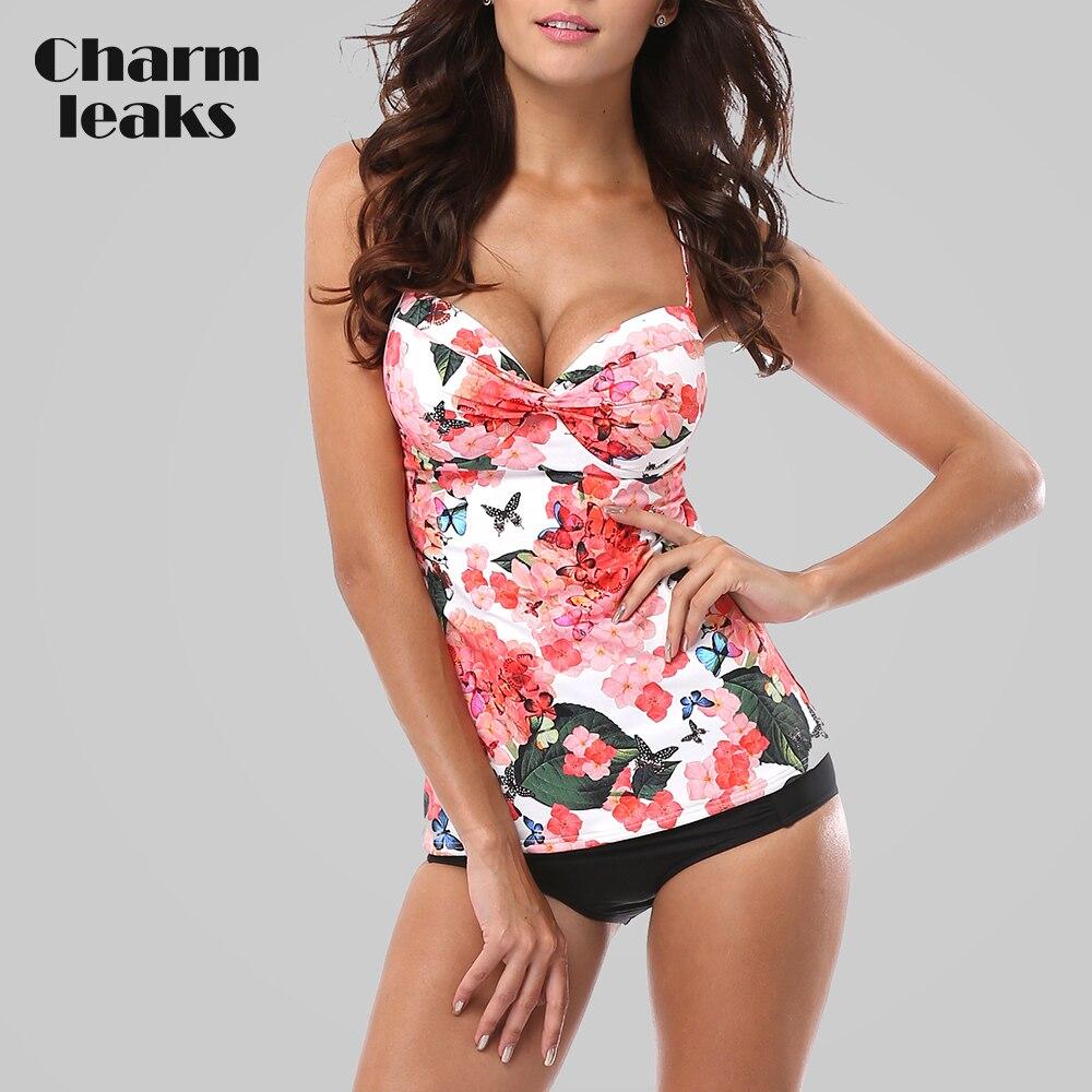 Charmleaks tankini conjunto feminino maiôs retro floral impressão banho acolchoado push up bikini maiô praia wear