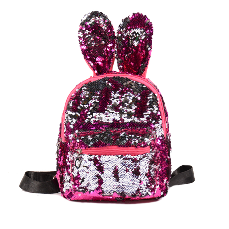 Shinning Sequins Backpack Leather Women Cute Rabbit Ear Shoulder Bags for Teenage Girls School Bags Large Capacity Travel BagShinning Sequins Backpack Leather Women Cute Rabbit Ear Shoulder Bags for Teenage Girls School Bags Large Capacity Travel Bag