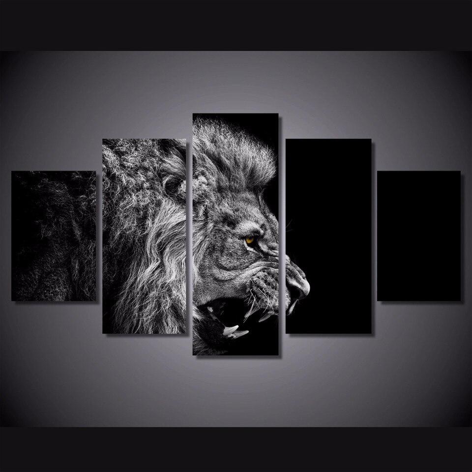 5 Teile/satz Gerahmte HD Gedruckt Schwarz Weiß Lion Bild Wandkunst ...