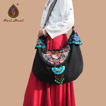 New brand embroidery canvas women bags Ethnic  handmade pendant shoulder bags Vintage crossbody bags