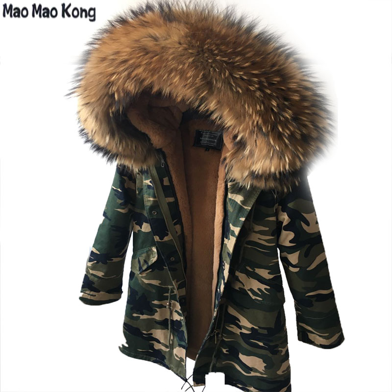 women's Camouflage Large color raccoon fur hooded coat   parkas   outwear long detachable lining winter jacket brand style