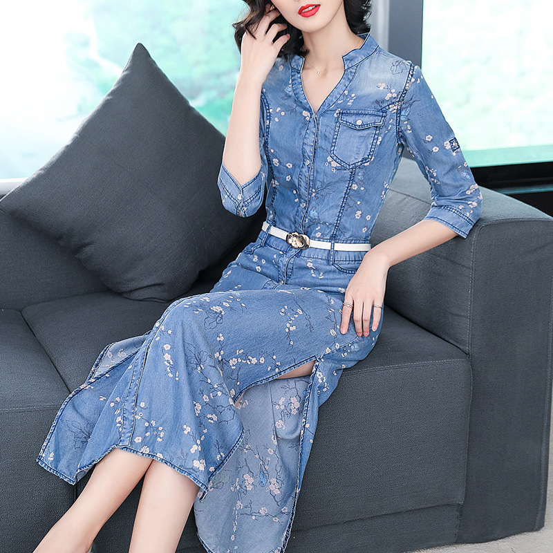 Style D'été Denim Fiber Printemps Robe Lyocell Blue Nw18a1969 Féminine Plum Longue Impression Et Chinois CBxxwqH6
