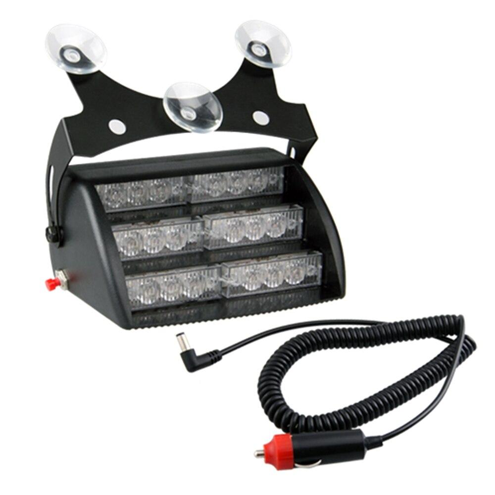 Car Flashing Strobe Flash emergency light Suction cups Cigarette lighter White 18 LED Lights 12V 6W
