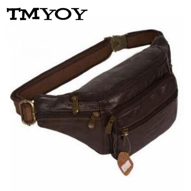 TMYOY 2017 New Style Men Multifunction Travel Bags Genuine Leather Funny Chest Pack Men Waist Pack Quality Men Waist Bags DB4010