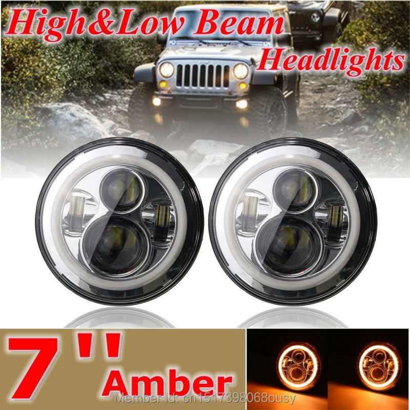 Round 7inch  LED Motorcycle Headlight with Amber signal Halo Angel eyes with DRL Halo for 97-15 Jeep wrangler JK LED Headlamp pair 7 inch round high low led headlight with amber signal halo ring angle eyes with drl halo for 97 15 jeep wrangler jk tj