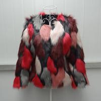 Abrigos de piel woman 2018 Korean version of the self cultivation autumn multi color stitching fox fur Coat Female Jacket women
