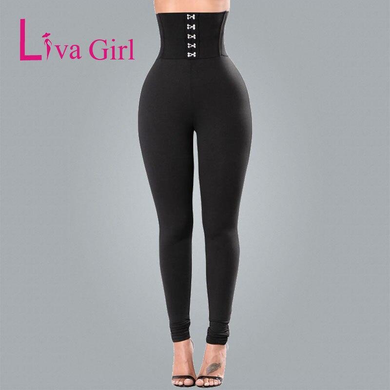 Liva Girl 2019 Autumn Sexy High Waist Slim Women Black Trouser Lace Up Fitness Legging Ladies Pencil Pants High Elastic Leggings