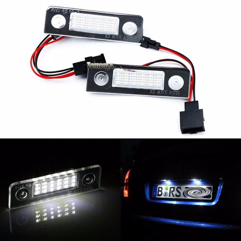 Hopstyling 2pcs car-styling 18 SMD LED license plate light No error For Skoda Octavia 1Z 2008~ Roomster 5J