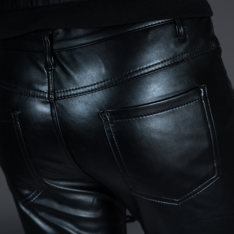 New Winter Spring Men's Skinny Leather Pants Fashion Faux Leather Trousers For Male Trouser Stage Club Wear Biker Pants 30