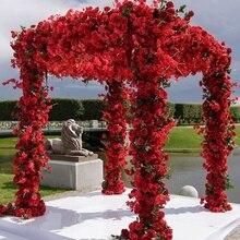 Hot sale 2m Artificial Flowers Roses Silk Garland DIY for Wedding Garden Home Decor Accessories Flower vine 5pcs