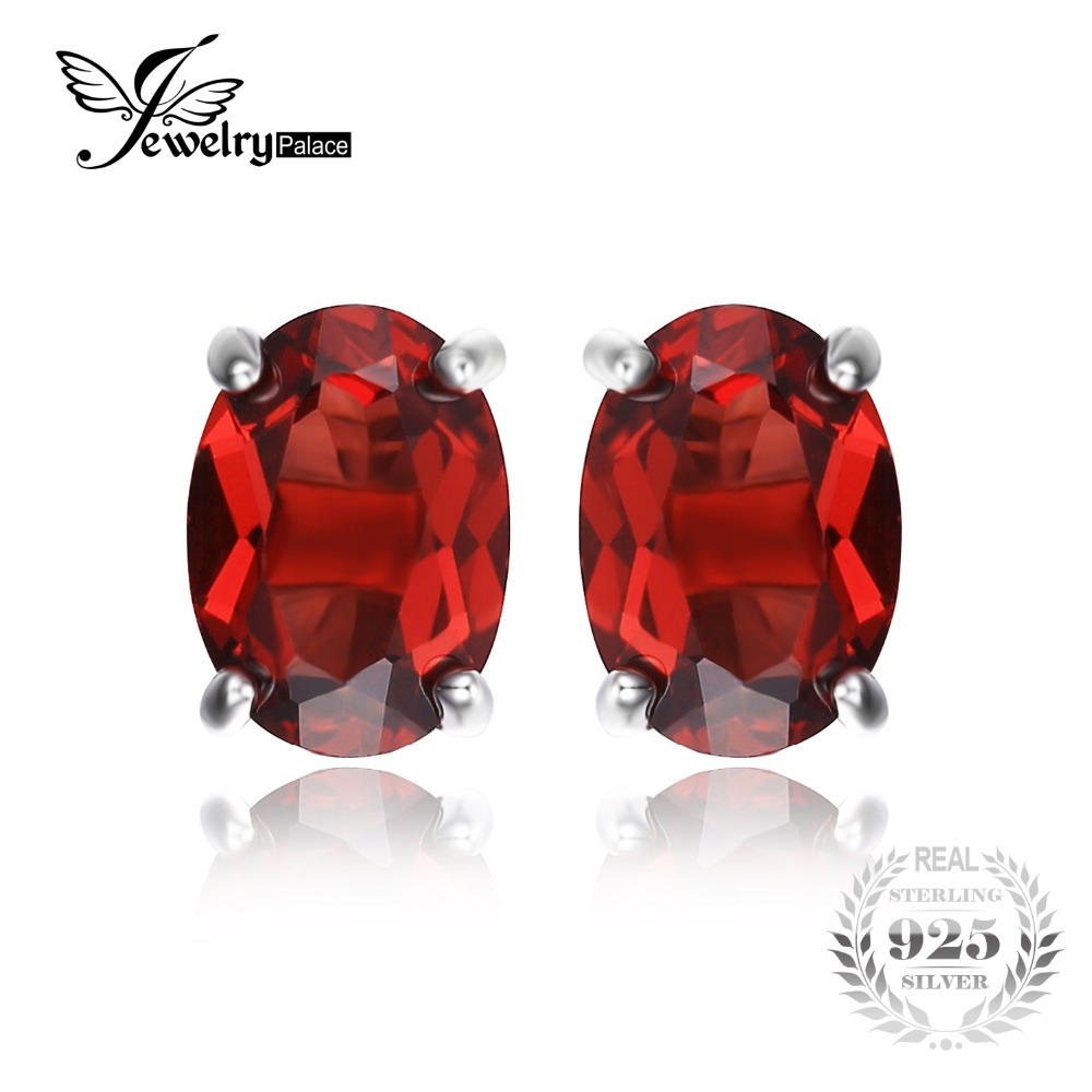 ovalada ct natural rojo granate birthstone stud pendientes esterlina del slido de plata nueva joyera f