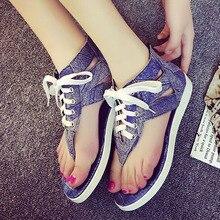 Lambdoid 2016 flat heel flip-flop cowhide open toe flat-bottomed female sandals denim summer slippers