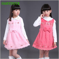 baby girls princess dress 2017 Spring autumn child party dresses High-quality cotton sleeveless vest flowers Girls clothes