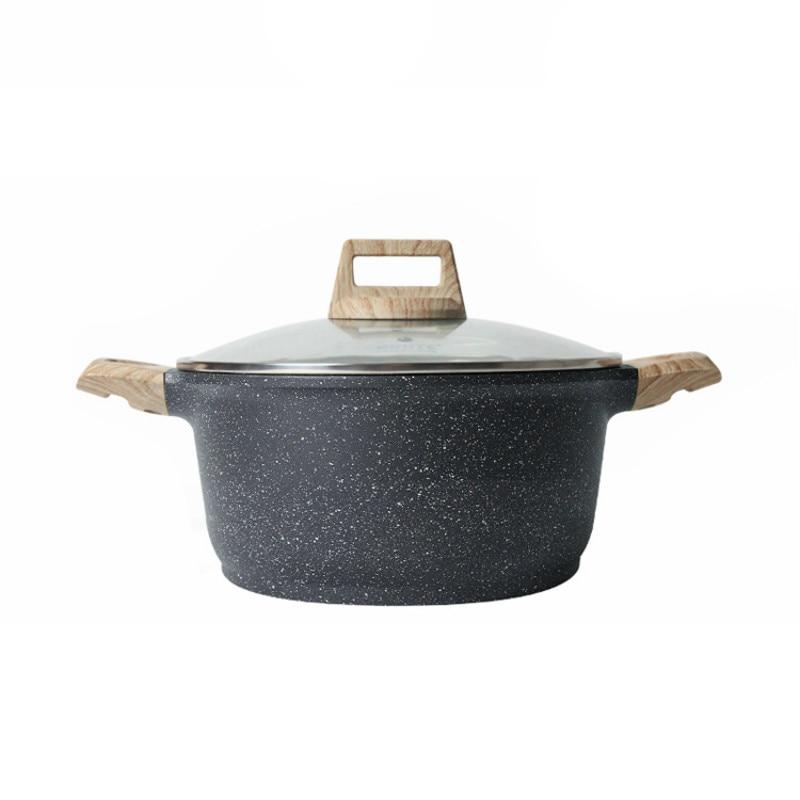 Marmite à soupe 24 cm cuisson à la vapeur antiadhésive marmite de cuisine domestique braisé viande four électromagnétique au gaz application batterie de cuisine