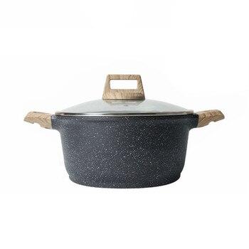 Olla para sopa de 24cm, estofado antiadherente, olla de cocina para el hogar, olla para cocinar a gas y carne a gas, horno electromagnético, utensilios de cocina