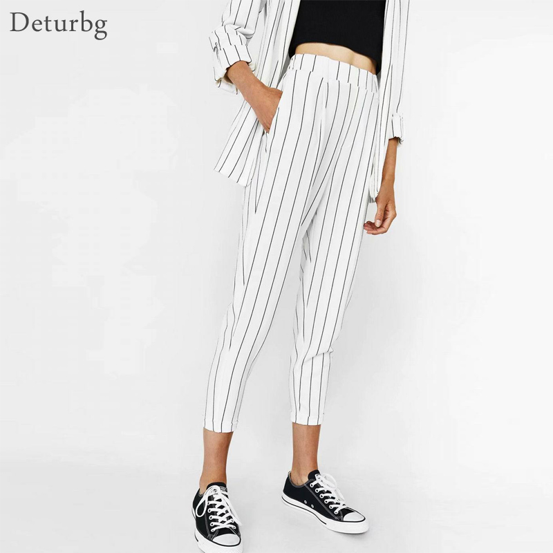 Women Casual White High Waist Striped   Pants   Female Vintage Trousers Korean Style Streetwear Ladies Ankle-Length   Pants     Capri   PA69