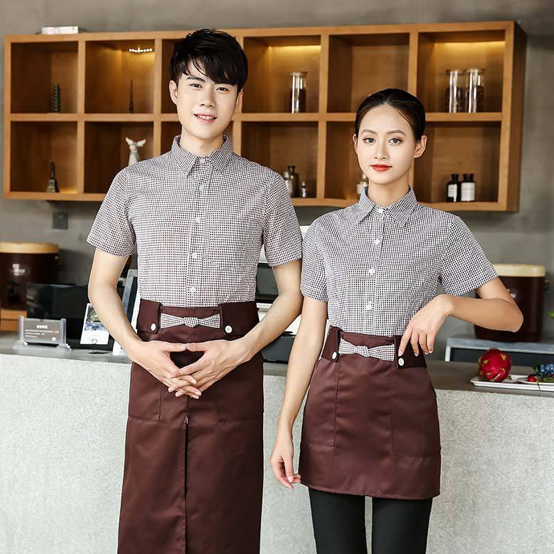 Cafe Shop Work Clothing Summer Hotel Restaurant Waiter Uniforms Short Sleeve Fast Food Shirt + Apron Food Service Work Wear