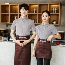 Cafe Shop Work Clothing Summer Hotel Restaurant Waiter Uniforms Short Sleeve Fast Food Shirt + Apron Food Service Work Wear(China)