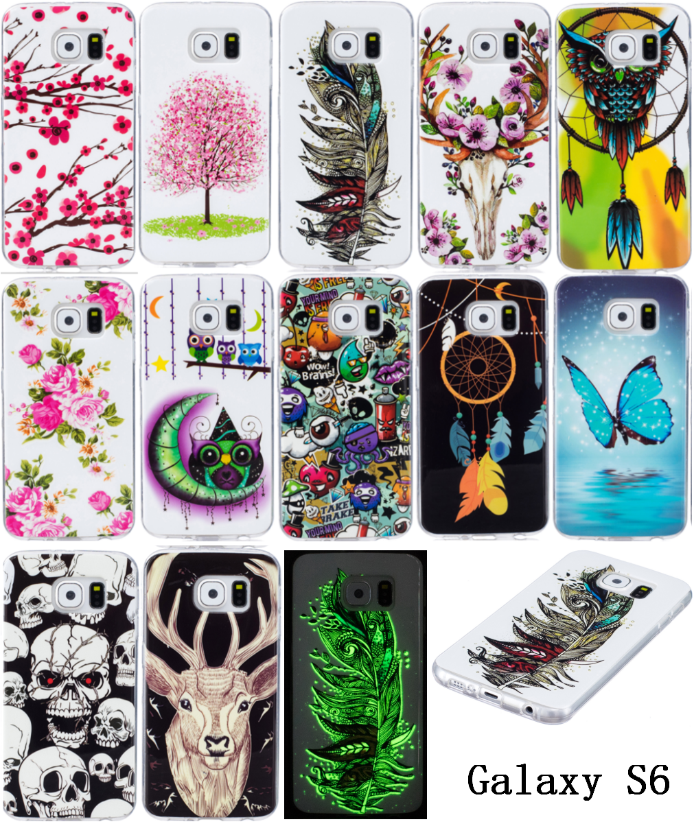Galleria fotografica 5Pcs For Samsung Galaxy S 6 S6 Silicone Case Luminous Animal Anime TPU Soft Back Cover Phone Case for Samsung Galaxy S6 G920f