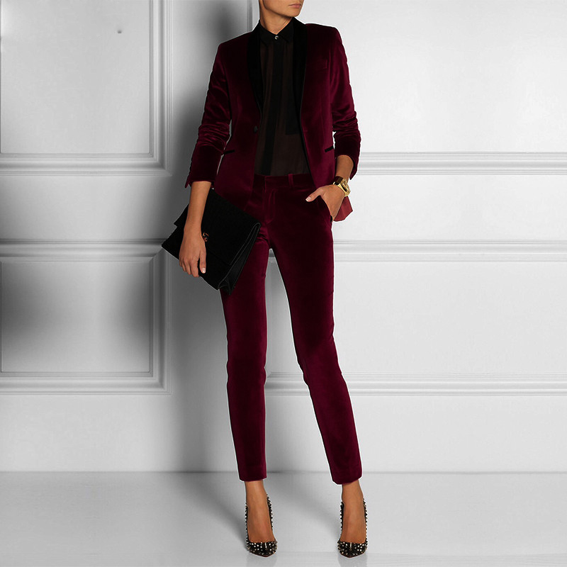 Burgundy Red Velvet Women Business Office Tuxedos Bespoke Suits Women Slim Fit Ternos Formal Prom Party Pant Blazer Suits Set