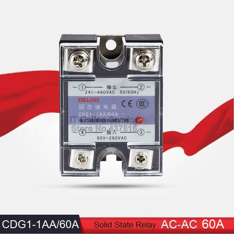 AC-AC 60A Solid State Relay Single Phase SSR Input 80-280VAC Output 24-480VAC (CDG1-1AA/60A)