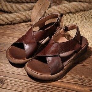Image 3 - Женские босоножки ручной работы GKTINOO, натуральная кожа, на танкетке, Воловья кожа, высокий каблук, Нескользящие удобные летние сандалии
