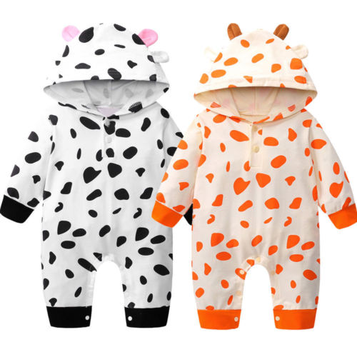 0-24M Newborn Infant Kid Baby Boys Girls Romper Cotton Long Sleeve Hooded One-piece Playsuit Jumpsuit Baby Clothes Outfits