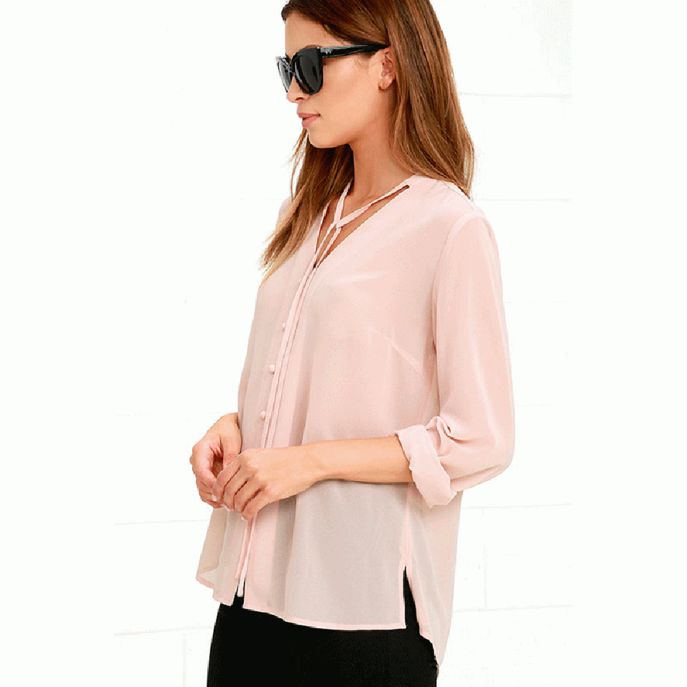 Ženska odeća ... Bluze ... 32768525679 ... 5 ... HDY Haoduoyi Solid Color Fashion Women Shirts Single Breasted V Neck Long Sleeve Blouse Casual Brief Style Female Chiffon Shirt ...