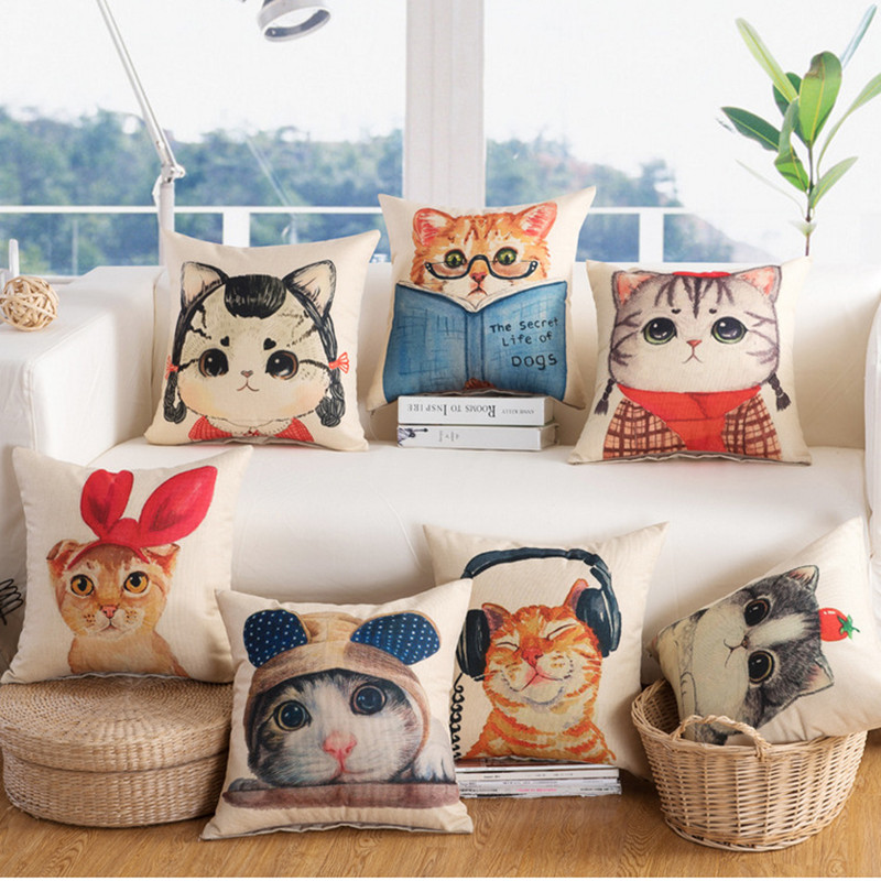 Lovely Cat Family Story Rocker Cushion Cover Cotton Linen Decorative Throw Pillow Cover Seat Sofa Embrace Pillow Case Home Decor