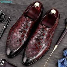 Handmade Italy Designer Fashion Wedding Party Brand Male Oxford Shoe Formal Genuine Leather