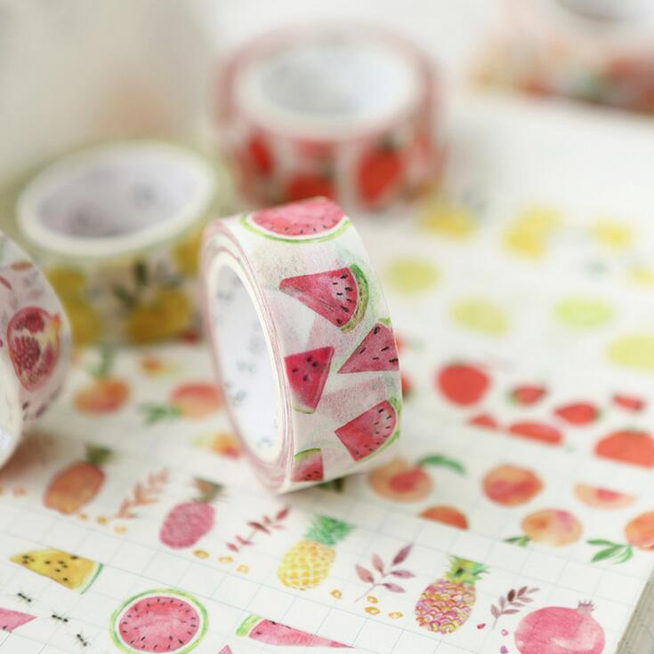 Summer Fruit Time Washi Tape Adhesive Tape DIY Scrapbooking Sticker Label Masking Tape shading color washi tape adhesive tape diy scrapbooking sticker label masking tape