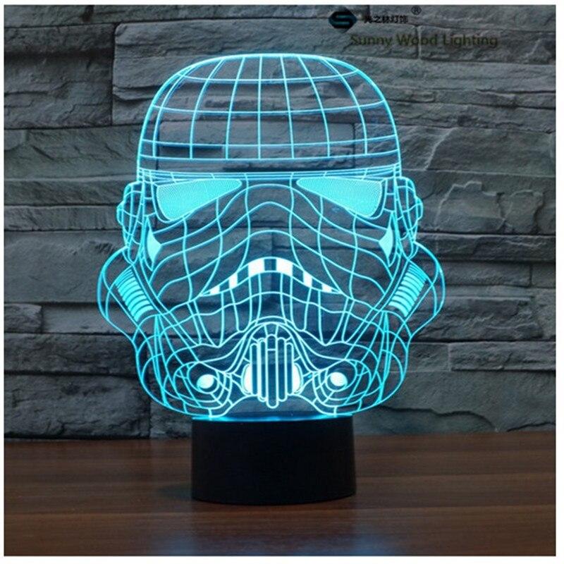 Storm войска Звездные войны светодиодный сенсорный 3D лампы, визуальную иллюзию 7 видов цветов Изменение 5 В USB для ноутбука, рождественские игр...