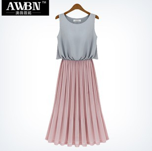 Fashion classic women's 2013 bohemia full dress colorant match pleated chiffon one-piece dress