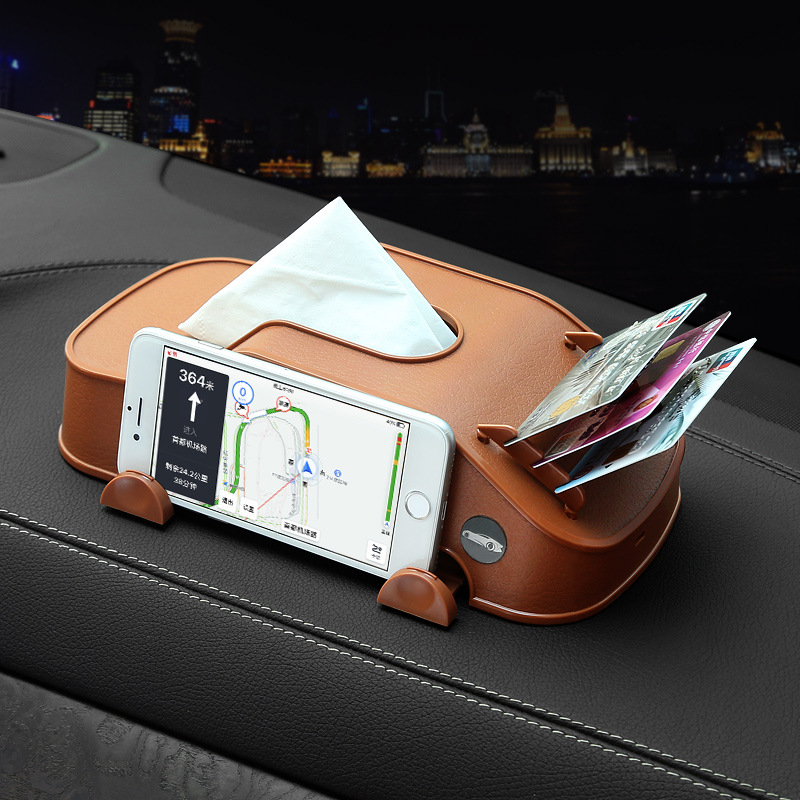 Multifunction Car Tissue Box Plastic Phone Holder Cards Clip In Car Armrest Block Paper Tower Storage Box Interior Accessories