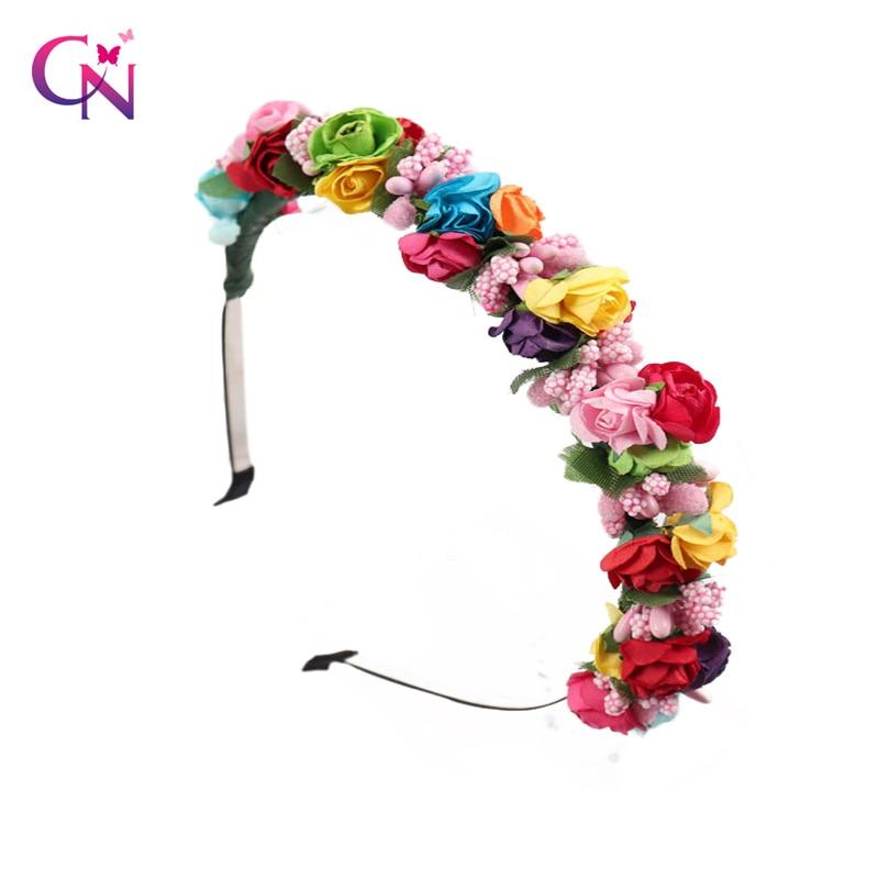 Girls Hair Accessories Flower Headband Yarn Form Wreath Headdress Romantic Hairband Red Color Bridal Headwear