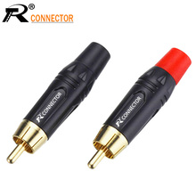 2pcs/1pair Copper RCA Plug Terminals Gold Plated Plug Audio Video Adapter Connectors Soldering Wires jl0883 rca female jack audio video connectors 20 piece pack