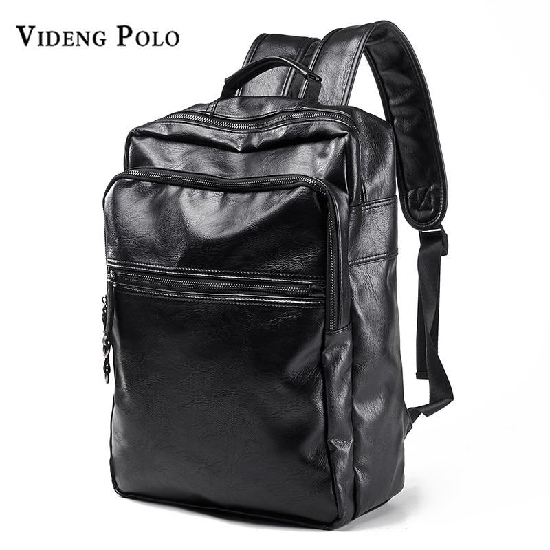 VIDENG POLO Men Bag New Brand Leather Casual Man Laptop Backpack Fashion Satchel Male College Students School Bag Travel Mochila