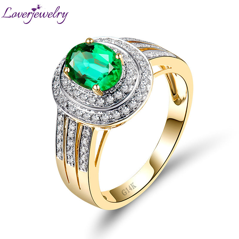 Vintage Oval 6x8mm Solid 14Kt Yellow Gold Diamond Emerald