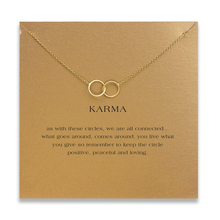 Fashion Double Circle Necklace Women Pendant Clavicle Chain Statement Choker Necklaces KARMA Card Collares Valentine's Day fashion butterfly pendant necklace women minimalist clavicle chain statement choker necklaces valentine s day gift card