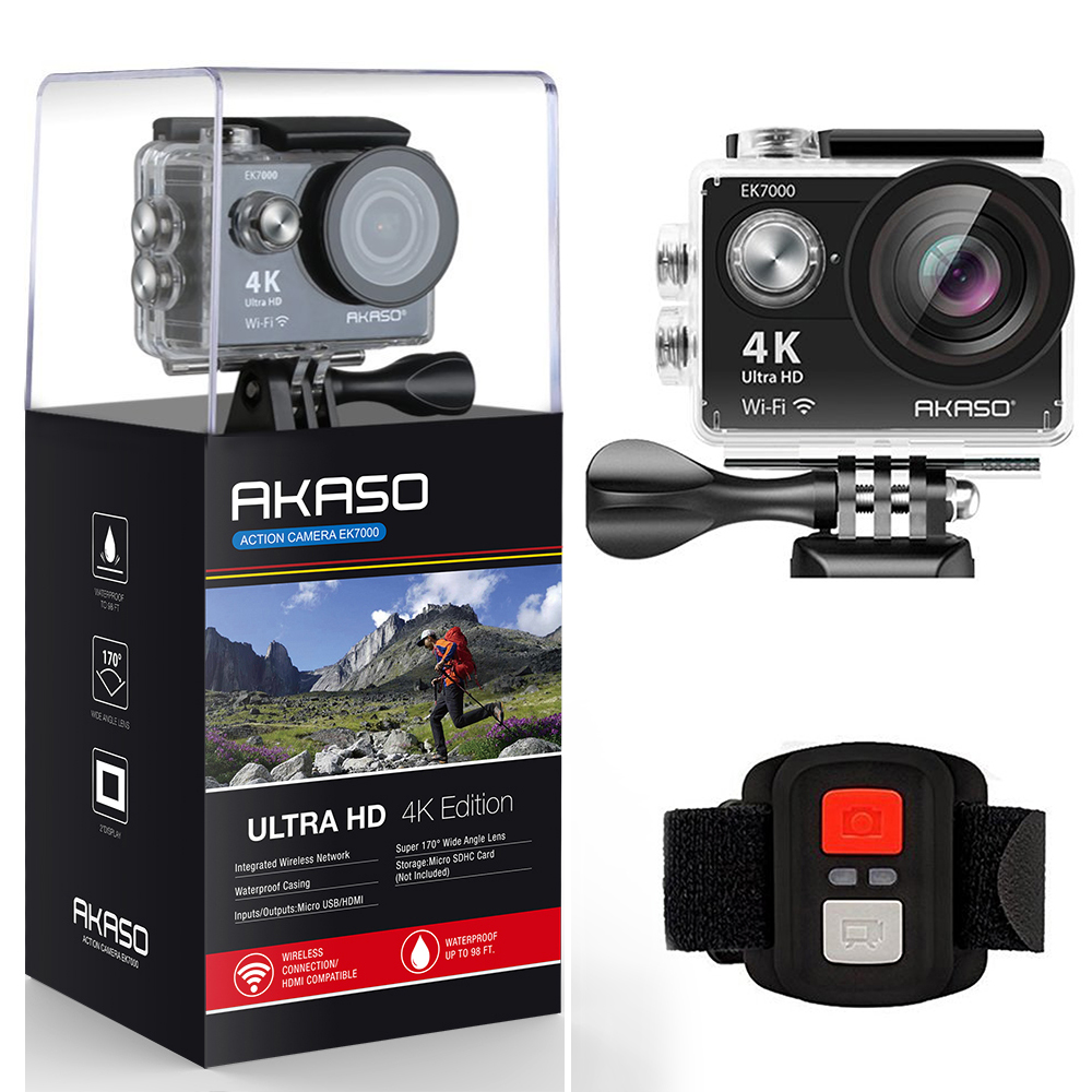 AKASO 4K Action camera Original EK7000 Remote Ultra HD 4K WiFi 1080P 60fps Sports Waterproof pro Camera akaso ek7000 action camera ultra hd 4k wifi 1080p 60fps 2 0 lcd 170d lens helmet cam waterproof pro sports camera