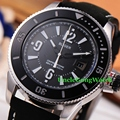 Bliger 43mm Black Dial Sub Style Mens Automatic Watch White Luminous Marks Clock Black Leather StrapTimepiece BA4301SWK