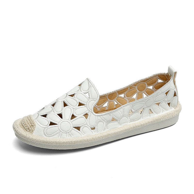 Women's Flats Shoe Embroidery Fisherman Female Shoe 2018 Spring Summer Women Shoes Slip On Loafers Hollow Out Shoes