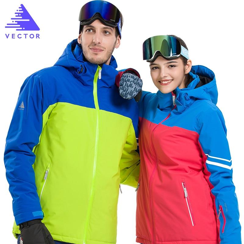 Très Épais Ski Synthétique Veste Chaud Capuche Neige Sport Hommes Hiver Manteau Femmes Ski Snowboard Vêtements de Plein Air Étanche 2019 Nouveau