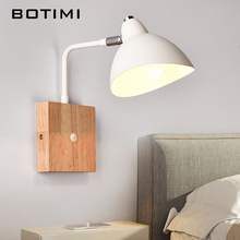 BOTIMI Nordic Wooden Wall font b Lamp b font For Bedroom Corridor Applique Murale Luminaire Modern