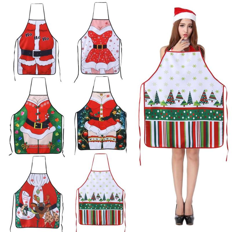 Christmas Decorations Ladies Men <font><b>Sexy</b></font> <font><b>Aprons</b></font> for Adults Dinner Party Cooking <font><b>Apron</b></font> <font><b>Kitchen</b></font> Accessories New Year Supplies image
