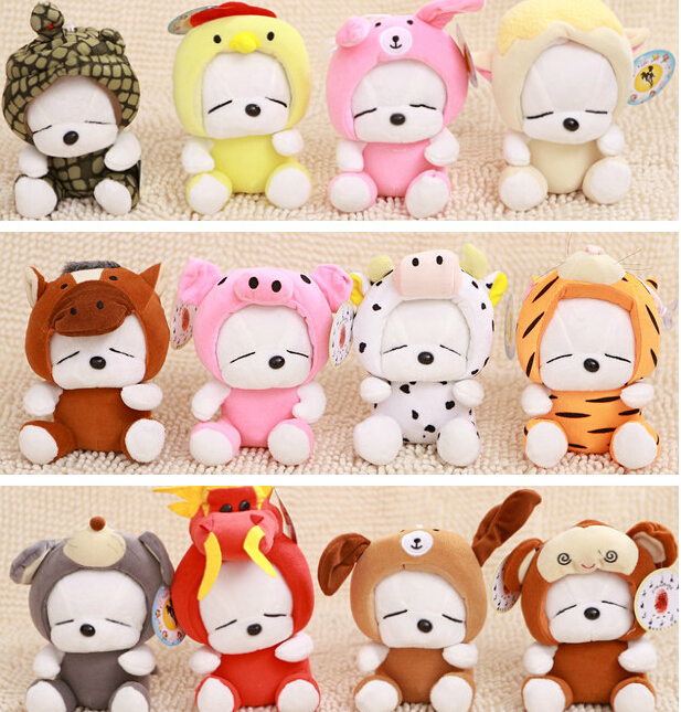 12pcs/lot 18cm Twelve Zodiac Kawaii Rabbit Plush Toy Staffed Baby Doll Wedding Gift Super Quality Brinquedos