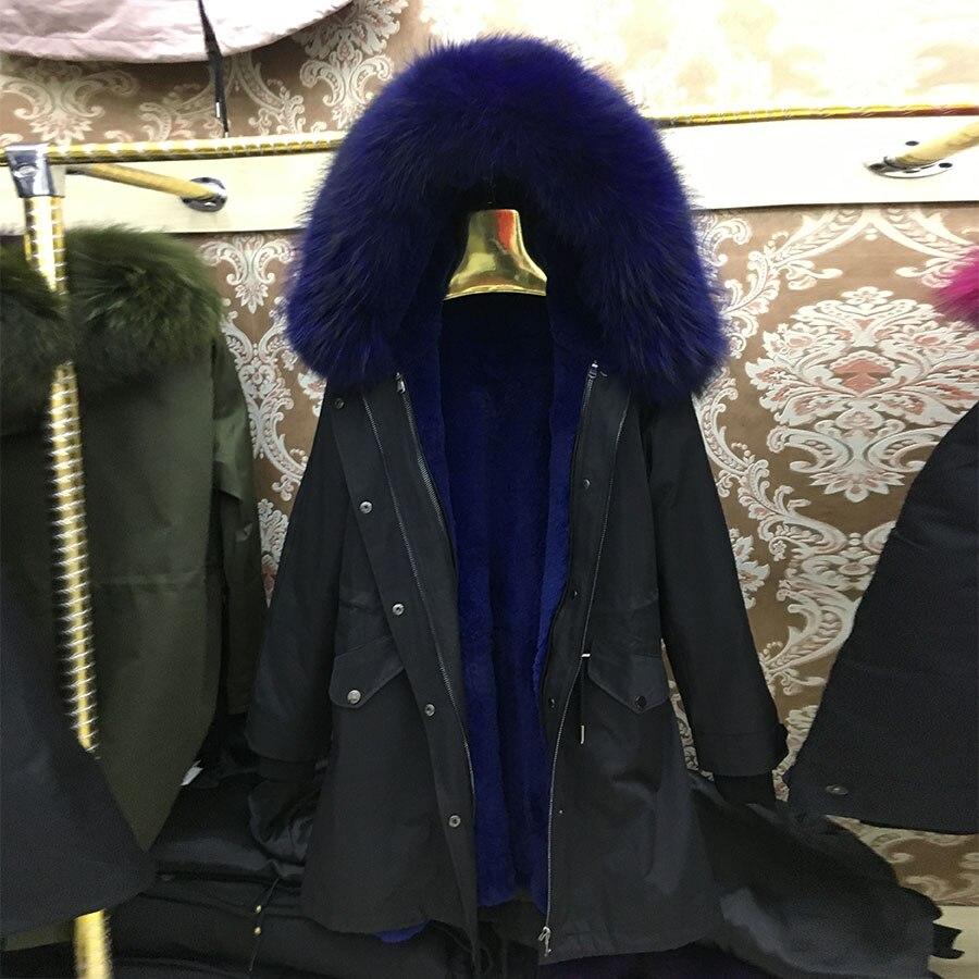 Veste noir Réel Bleu Vraie Chien Collier De bourgogne Laveur Col Lapin Chaude Marine Fourrure Raccon pourpre Parka Avec Long Femmes Naturel Manteau Raton rpnra1Hgqw