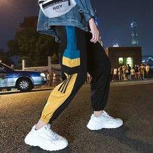 Side Stripes Printed Color Block Patchwork Track Pants Men Vintage Mens Hip Hop Windbreaker Streetwear Trousers Harem Pants Male цена 2017