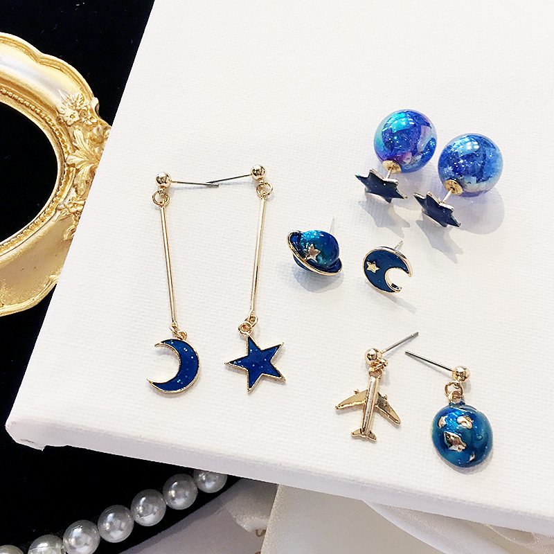 New Fashion Lovely Blue Planet Star Moon Spaceship Aircraft Stud Earrings for Women Girl Airplane Universe Ball Brincos Jewelry image